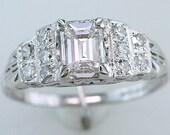 Vintage Antique GIA Certified 1.05ct Diamond 18K White Gold Art Deco Engagement Ring