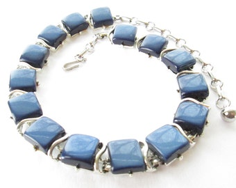 Vintage Coro Signed Blue Thermoset Necklace Set in Silver Tone Base Metal 1950s Mod Free Shipping