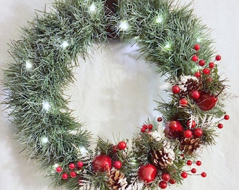 Scented Christmas Wreath, Garland and Berries, With Lights