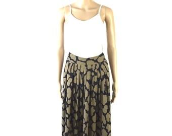 Vintage Designer Jones of New York Olive and Black Spotted Skirt, 16