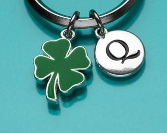 Four Leaf Clover Keychain, Green Shamrock Key Ring, Good Luck Charm, Lucky Charm, Initial Keychain, Personalized Keychain, Custom, 811