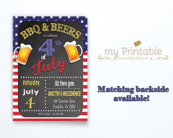 Fourth of July Invitations / Digital Printable Invite / DIY Party