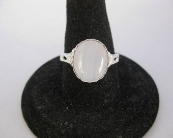 Blue Lace Agate (12x10mm) Stone Cabochon Sterling Silver Ring Size 8.5, No. 1413