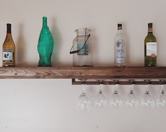 floating wine glass shelf rustic wine rack etsy 7241
