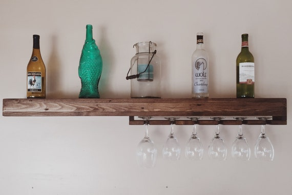 rustic wood floating shelf rustic wine rack wine glass. Black Bedroom Furniture Sets. Home Design Ideas