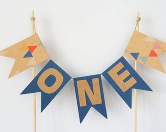 Personalised boys birthday cake bunting- cake banner- cake topper- custom- name- age- one- first birthday- birthday party