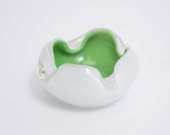 Vintage Art Glass Milk White and Green Bowl