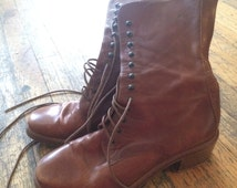 Joan and David Brown Leather Combat Boots