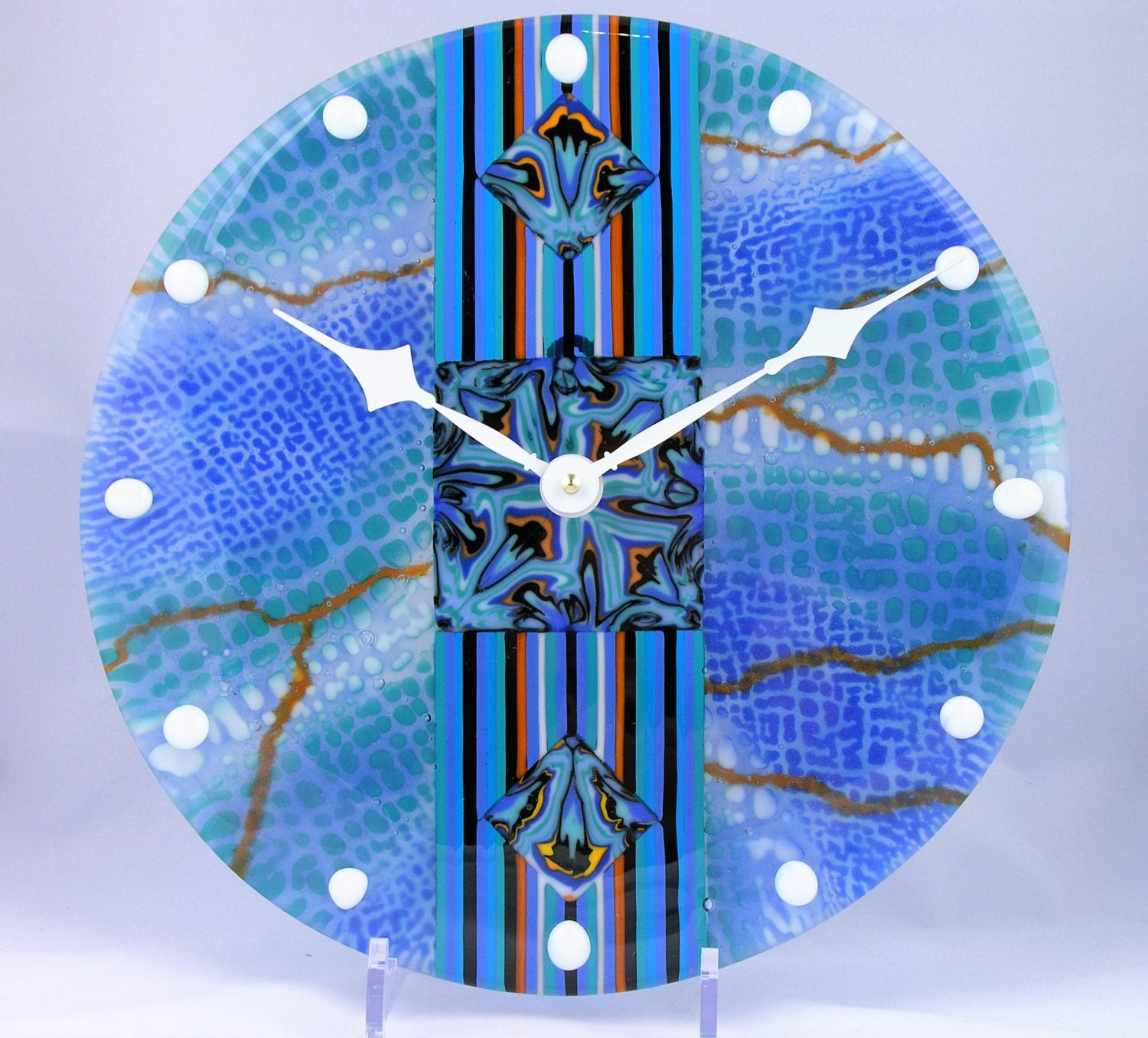 fused glass wall clock turquise blue fantasy set and forget