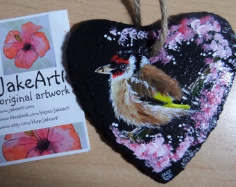 Goldfinch garden bird wildlife art British birds acrylic original painting on small slate heart