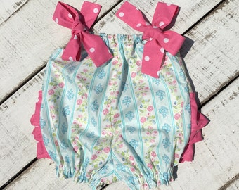 Baby Ruffle Romper, Vintage Baby Romper, Baby Shower Gift, Toddler Sunsuit