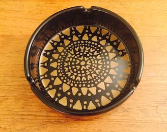 Black Ceramic Weed Ashtray - Gold