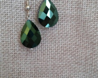 Green irredesent glass earrings. Silver plated