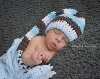 Newborn Photo Prop, Dreamy Stocking Cap, Crochet Hat, Elf Hat, White, Brown, Baby Blue