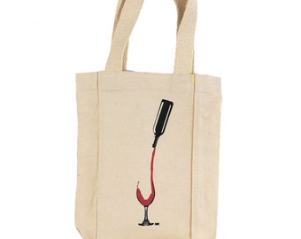 Double Bottle Wine Tote // Duo Bottle Wine Tote // Red and White Wine Tote // Wine Bag // Double Wine Bag // Wine Carrier // Duo Wine Holder