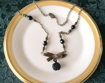 Victorian Beaded Button+Ribbon Necklace of Antique & Vintage components/Handmade by Cw