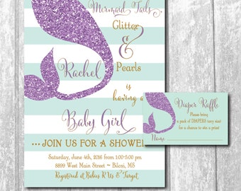 Mermaid Baby Shower Invitation with matching Diaper Raffle Ticket/ digital files/ wording can be changed