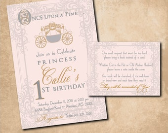 Princess First Birthday Vintage Invitation/printable/Digital File/girl first birthday, book request, vintage princess/Wording can be changed