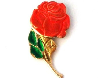 Vintage rare Soviet pin badge - Rose /  Flower / Made in the USSR, 1970s.