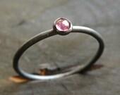 Pink Tourmaline Ring / Pink Stone Ring / Oxidized Silver Ring - Stackable Pink Tourmaline Ring