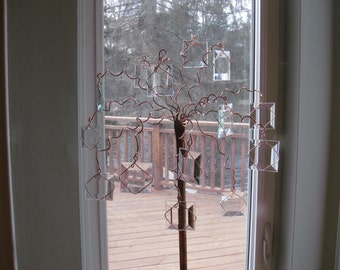 Copper clear beveled glass tree
