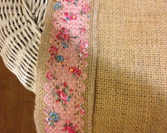 Burlap Runner with deep pink flowered ribbon border