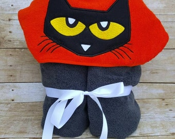 Pete the Cat Inspired Hooded Towel with FREE Embroidered Name