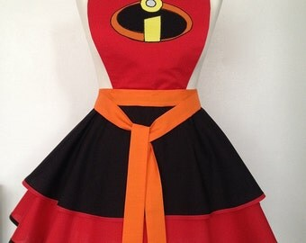 """Vintage style """"Incredibles"""" inspired apron with 2 full circle skirts. Great for dinner parties."""