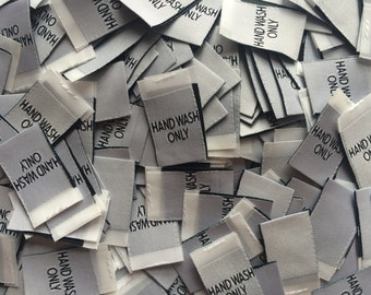 Woven White Hand Wash Only Care Labels Clothing Garment Accessories Labels Cut and Folded