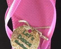 Gold & Mint Printable Flip Flop Size Tags, LET'S DANCE, Instant Download Template // Wedding Flip Flop Tags, DIY Flip Flop Favor //