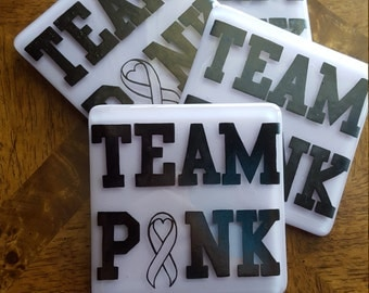Breast Cancer Awareness Glass Coasters