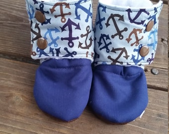Anchors Navy Stay On Soft Sole Infant Toddler Boots, Infant shoes, Baby booties. Baby shoes, anchors shoes