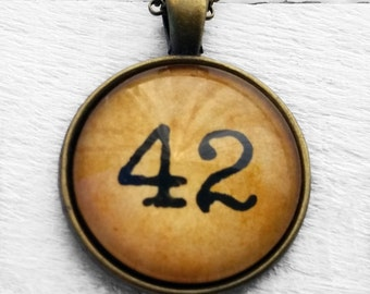 "Hitchhiker's Guide to the Galaxy ""42"" Pendant & Necklace"