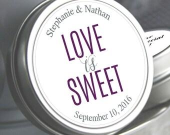Wedding Decor - 12 Wedding Mint Tins - Wedding Favors - Love is Sweet - Wedding Mints - Mint To Be - Personalized Tin Mints - Bridal Shower