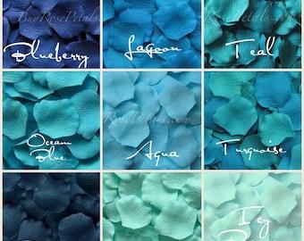Tropical Blues Silk Rose Petals - 1000 Rose Petals