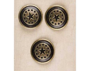 Metal Star Shank Buttons - American - Western - SCA Heraldry