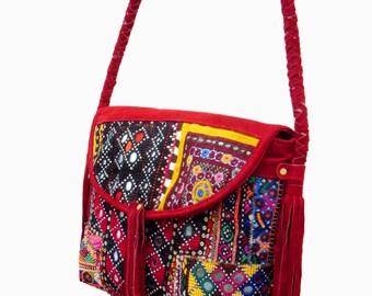 Vintage Banjara Leather Handbag Gypsy Style Indian Bag,Handmade ethnic Banjara Suede Leather Shoulder Bag And Messenger Bag, Tribal Bags.