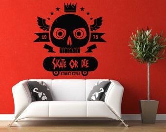 Wall Vinyl Sticker Decals Mural Room Design Decor Pattern Skate Or Die Skull Board Sport Hobby Skating mi359