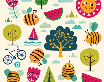 Colored childish ILLUSTRATION with bees, sun, trees. BEE PRINT. Beautiful print for living room, kids room