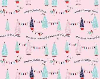 Pixie Noel by Riley Blake - Trees Pink - Cotton Woven Fabric