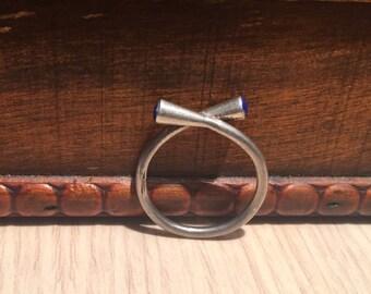 Vintage Lapis Ring-Sterling Silver-Lapis Lazuli Stone-Handmade Ring...