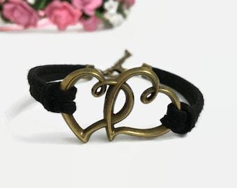 Double heart bracelet Bronze hearts cord bracelet Love heart bracelet Gift for girlfriend Gift for couple Love bracelet Valentines bracelet