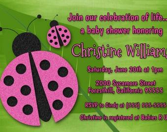 pink ladybug baby shower invite ladybug baby shower invitation ladybug