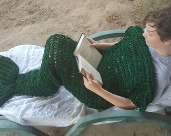 "Adult Sized MERMAID TAIL BLANKET Cocoon Pick Your Color 35"" x 77"""