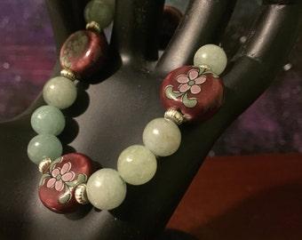 Green aventurine  and ceramic bracelet.