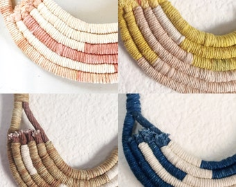 Hand Dyed Cotton Rope and Twine Fiber Statement Necklace.