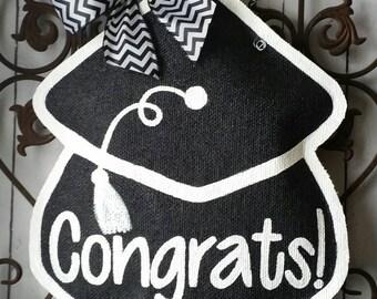 Graduation Hat Burlap Door Hanger Decoration
