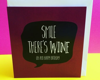 funny wine birthday card for sister or friend