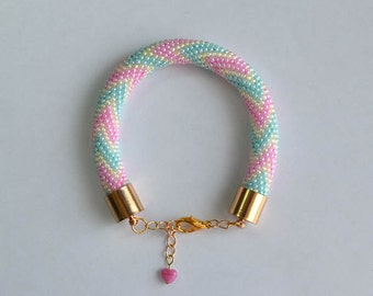 pastel mint-pink-yellow crochet bead bracelet