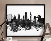London skyline, London poster, London black & white, England, British, United Kingdom, wall art, home decor, wall art art print iPrintPoster